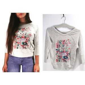 Anthropologie | Floral Cropped Pullover Sweater🌺